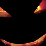 pumpkin face with illuminated