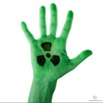 green  palm with radiation sign