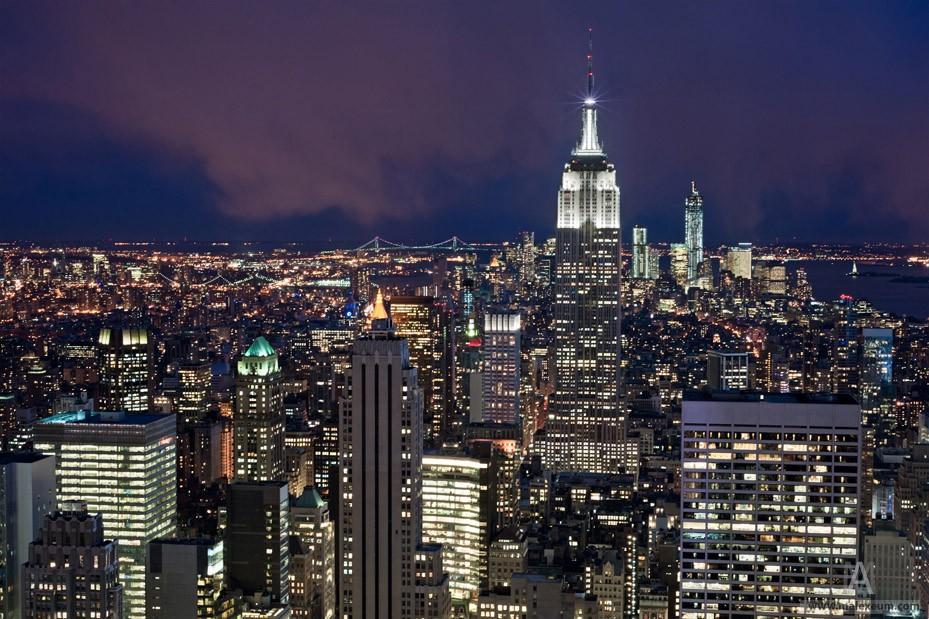 Фотосъемка Эмпайр стейт билдинг с крыши Рокфеллер центр в Нью-Йорке (Rockefeller Center)