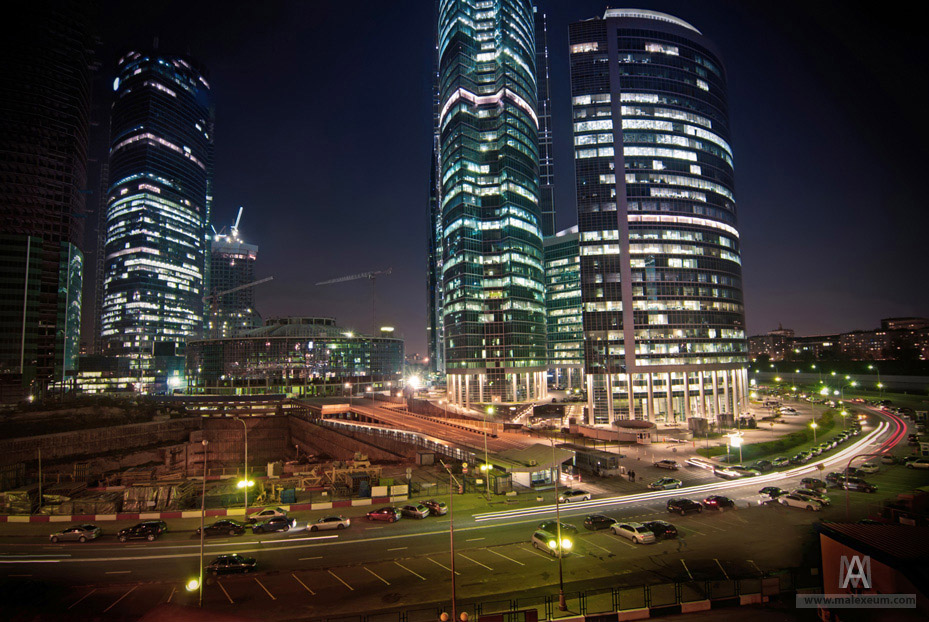 group of skyscrapers at night
